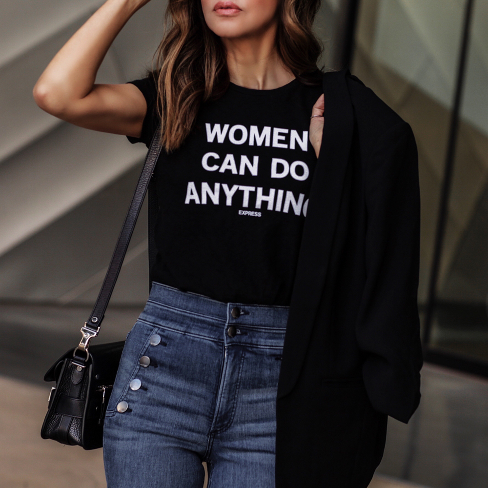 women empowerment in fashion, Express blue jeans, using fashion to empower women, express women empowerment graphic tee | lolariostyle.com