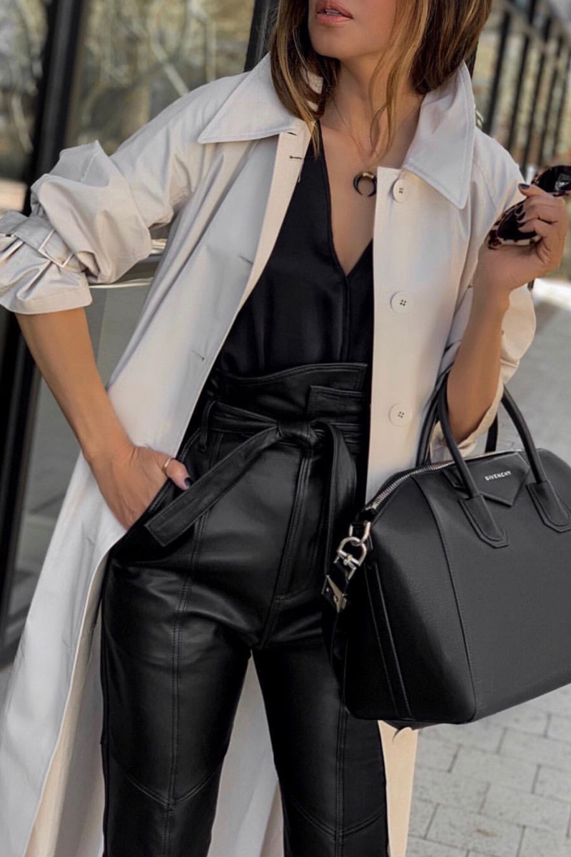 must have jackets for spring, trench coat outfit, leather pants and trench coat | lolariostyle.com
