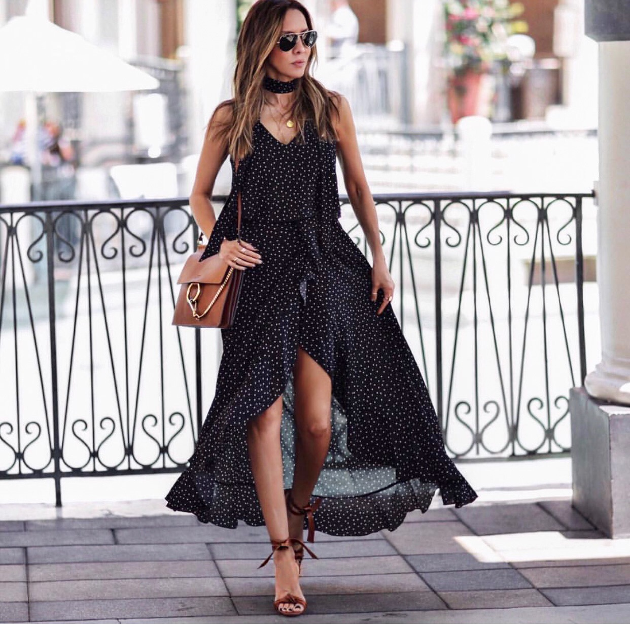 date night outfit ideas, black polka dot wrap dress // lolariostyle.com