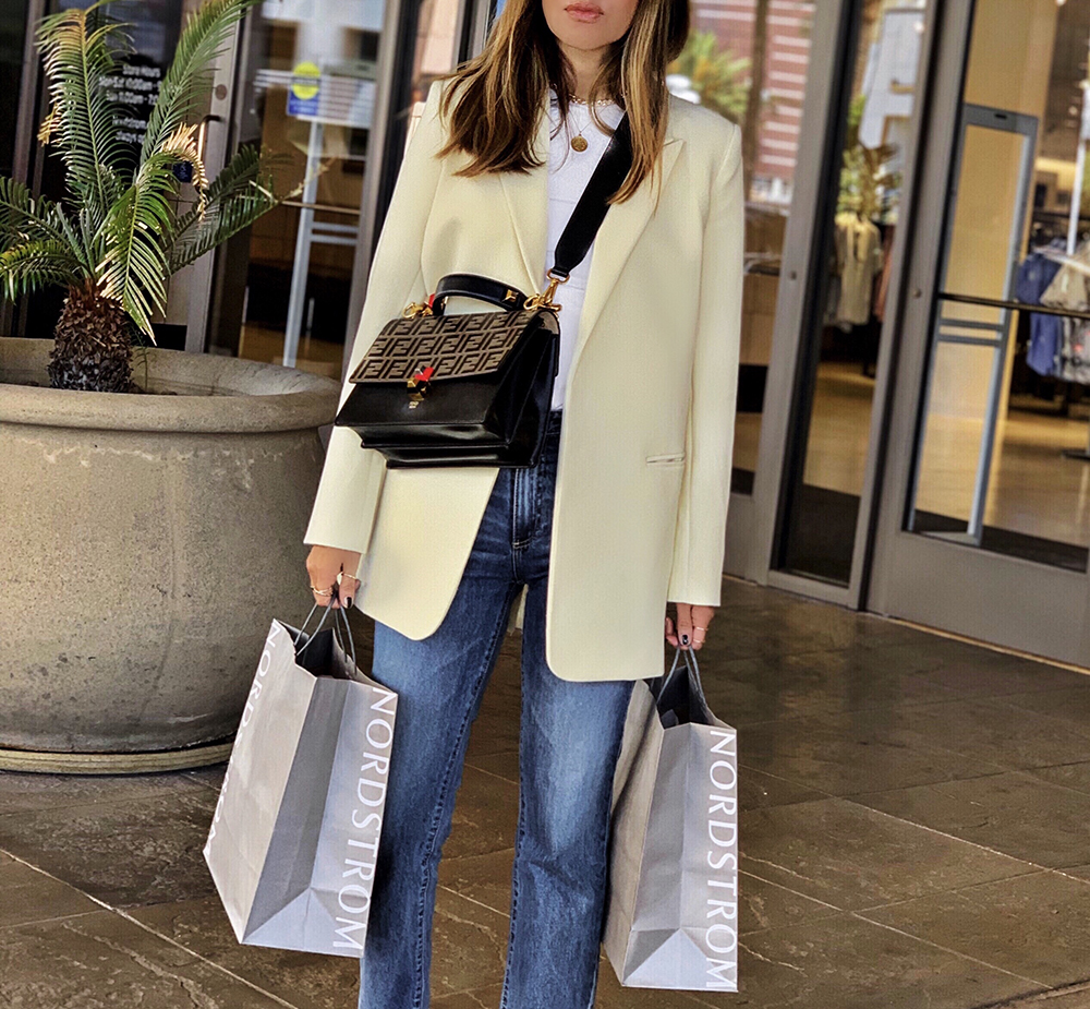 favorite store for last minute shopping, nordstrom buy online pick up in store, shopping at nordstrom, lolario style, yellow blazer with denim, chanel slingback pumps | lolariostyle.com