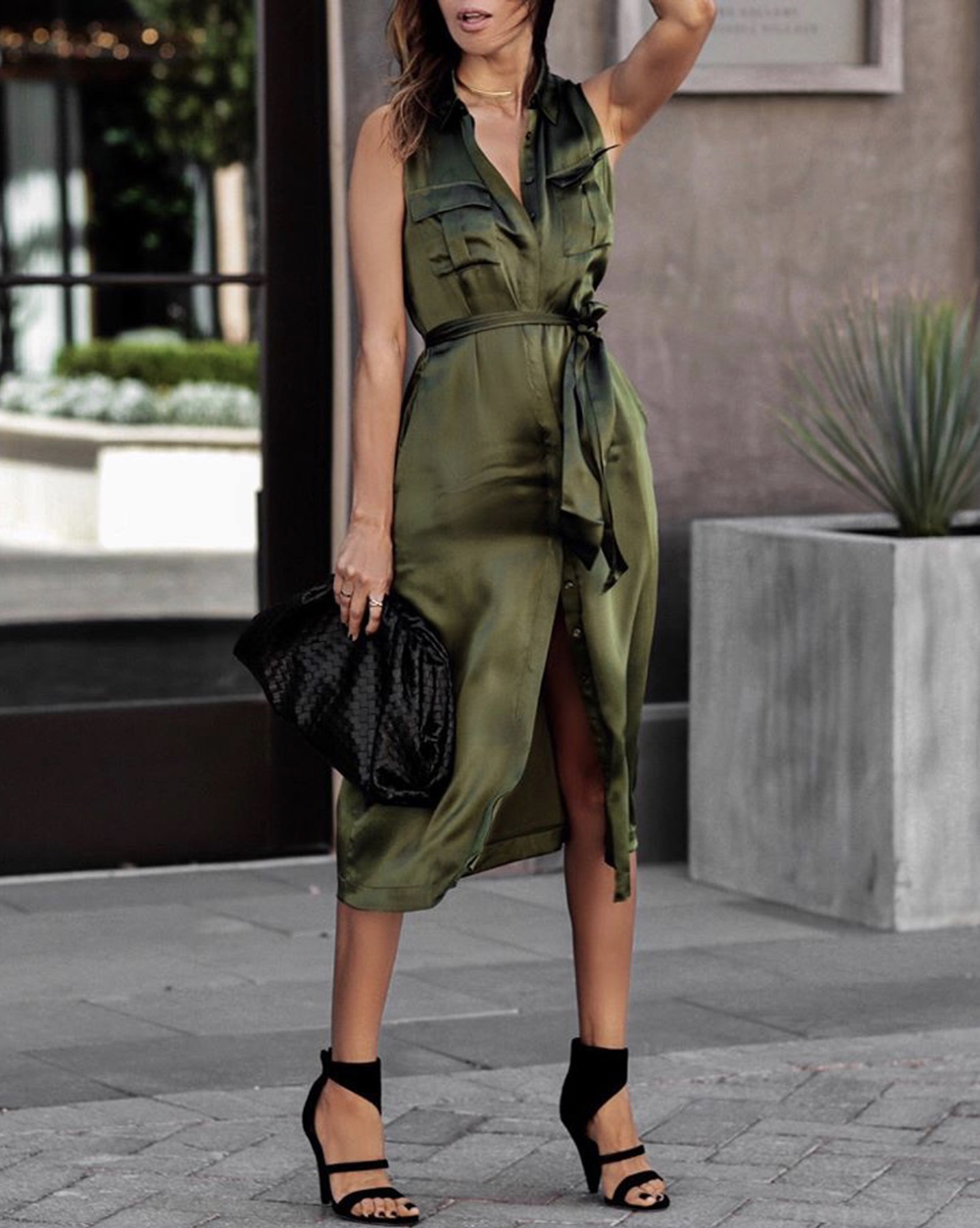 color combinations to wear, green shirt dress, olive and black outfit | lolario style