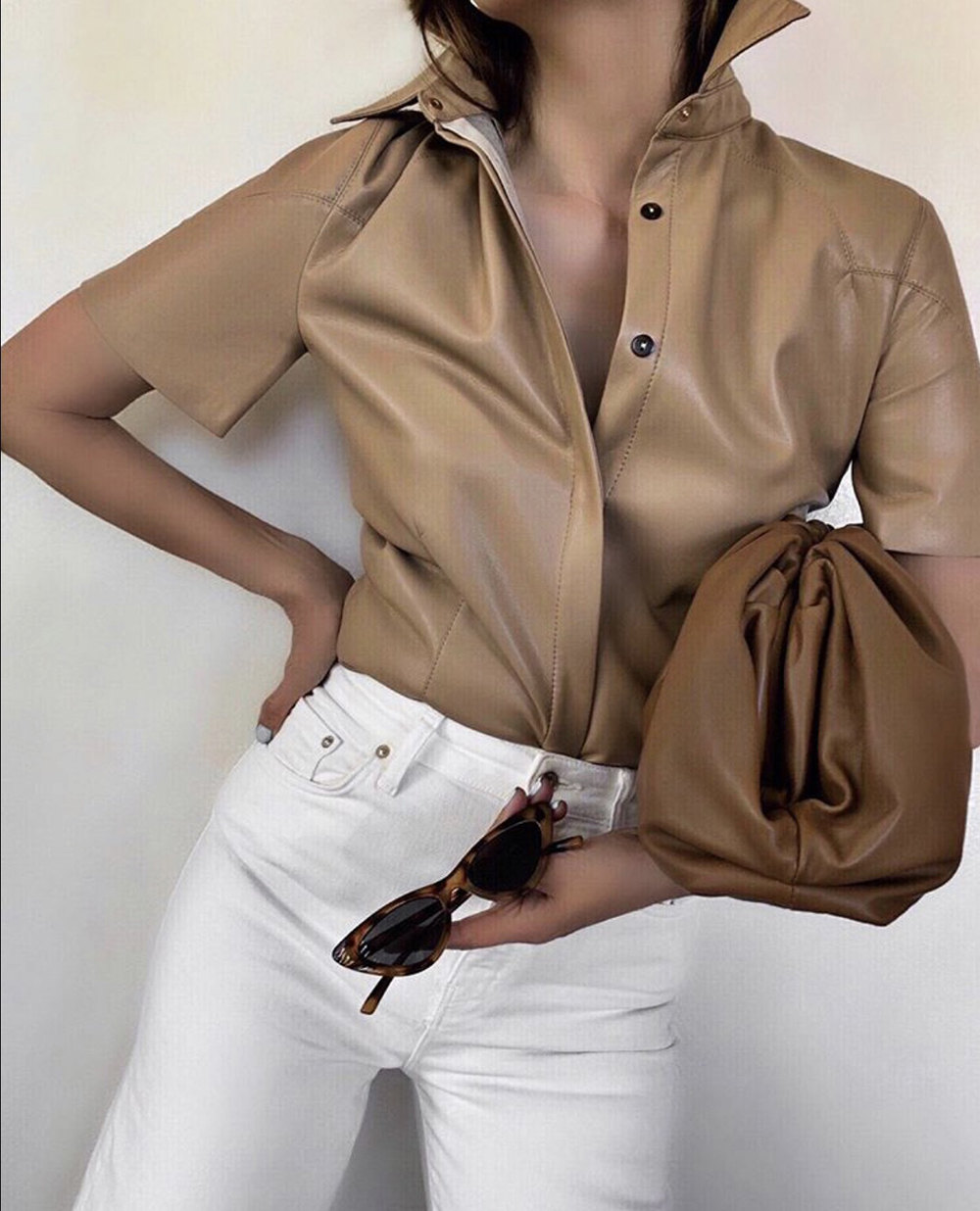 color combinations to wear, nanushka leather top, beige and white outfit   lolario style
