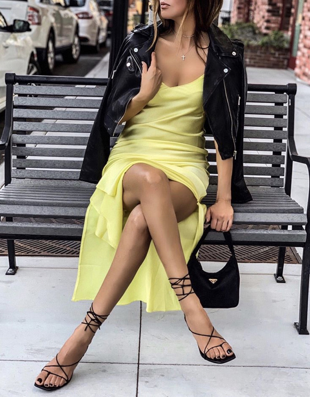 color combinations to wear, yellow slip dress, asos yellow slip, black and yellow outfit | lolario style