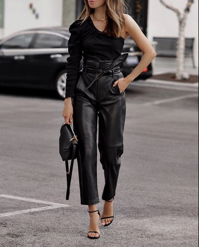 How to Dress Up An All Black Outfit, chic all black outfit, paper bag leather pants, one shoulder top | lolario style