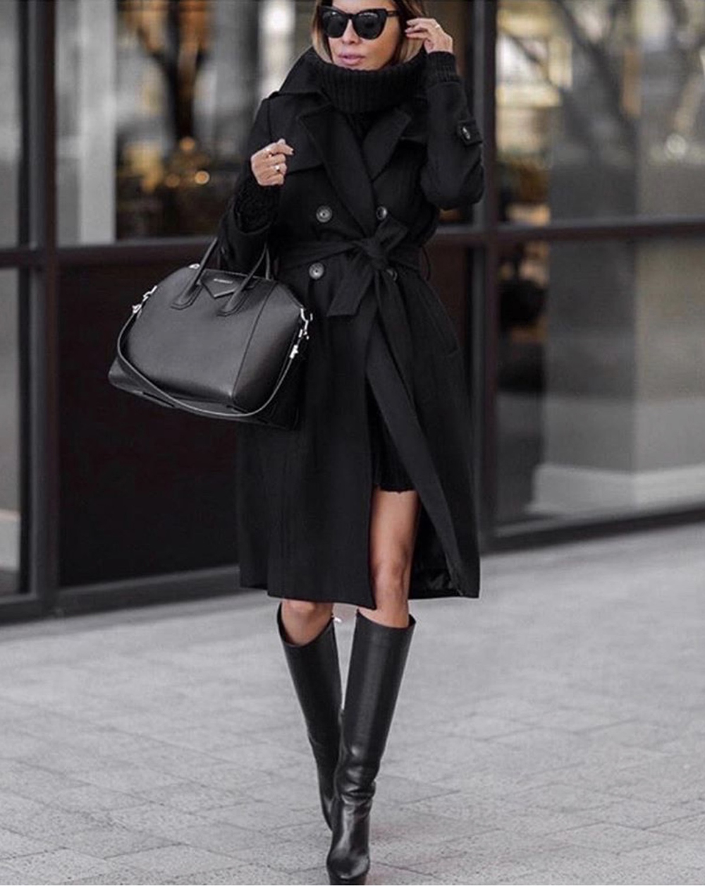 How to Dress Up An All Black Outfit, chic all black outfit, layered black outfit, sweater dress and boots, fall outfit | lolario style