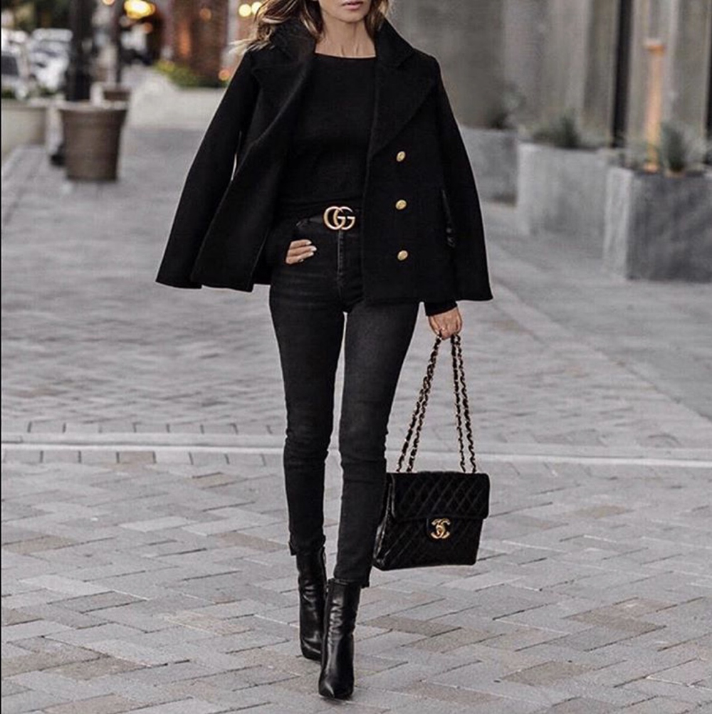 How to Dress Up An All Black Outfit, chic all black outfit, double breasted jacket, gucci belt outfit | lolario style