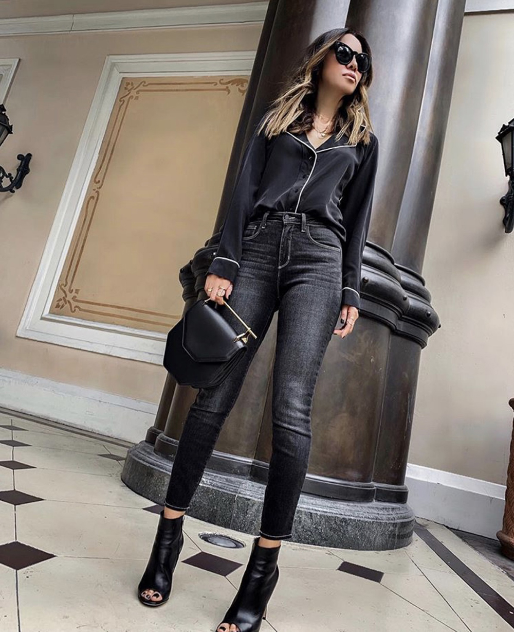 How to Dress Up An All Black Outfit, chic all black outfit, black button down top | lolario style