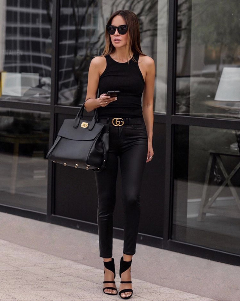 How to Dress Up An All Black Outfit, chic all black outfit, racer tank and leather pants | lolario style