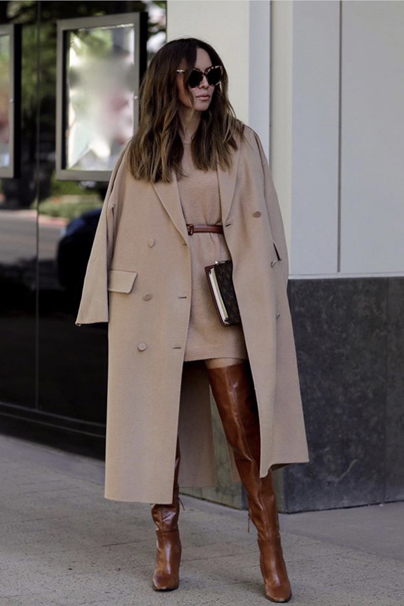 best boots for fall 2019, over the knee boots, monochromatic camel outfit, camel layered look | lolario style