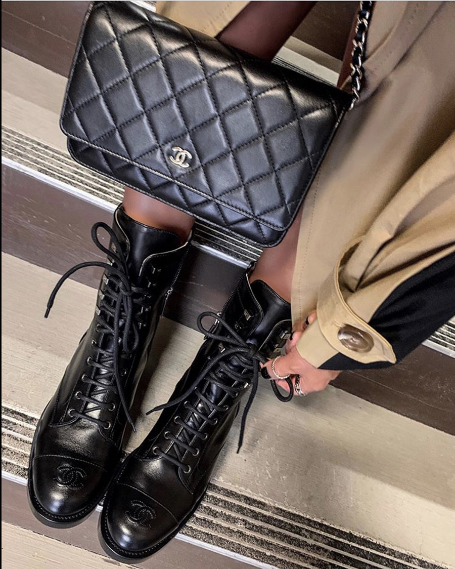 best boots for fall 2019, combat boots, chanel combat boots, fall 2019 boot trends | lolario style
