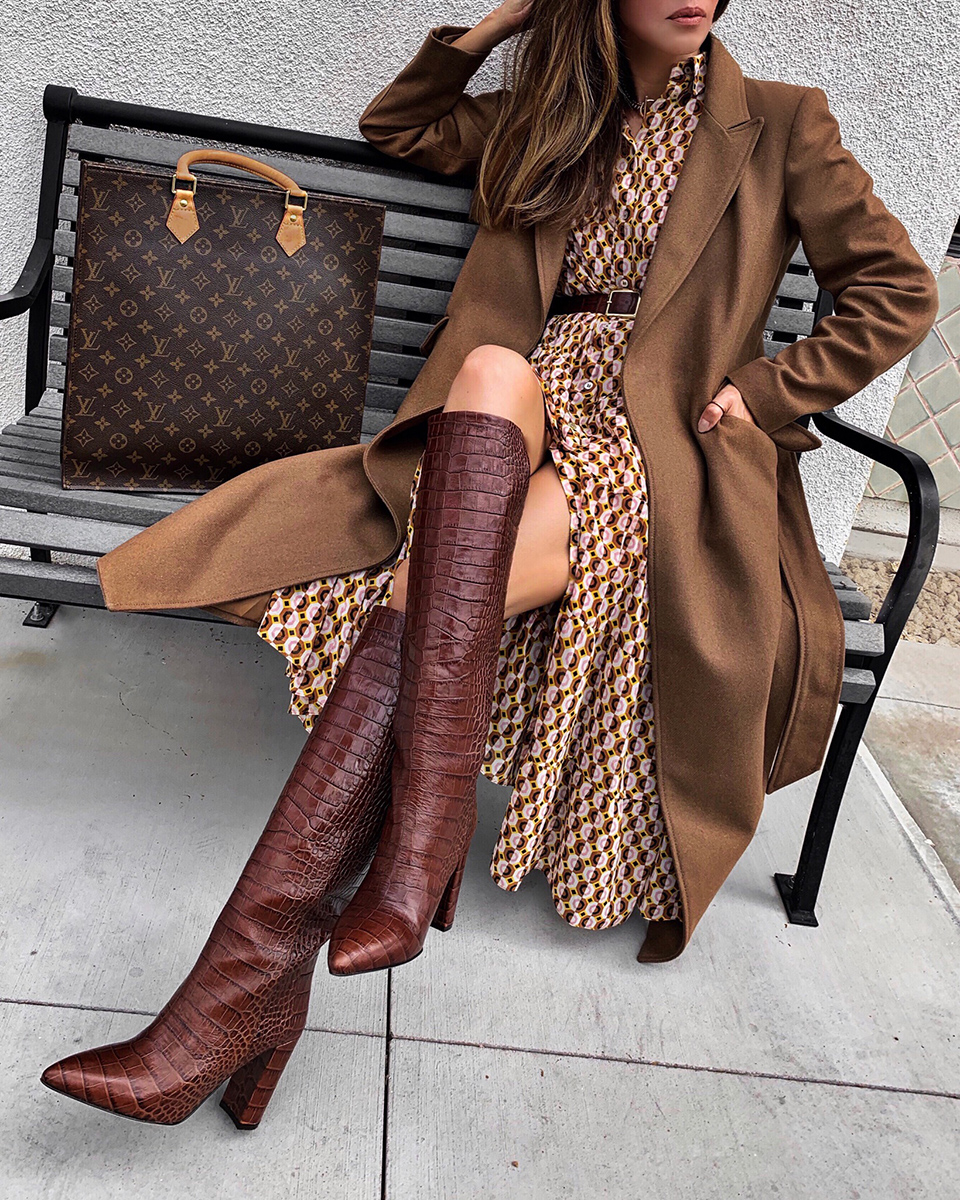 best boots for fall 2019, knee high boots, boots and dress outfit | lolario style
