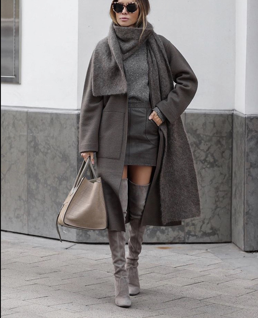 best boots for fall 2019, over the knee boots, monochromatic gray outfit, gray layered look | lolario style