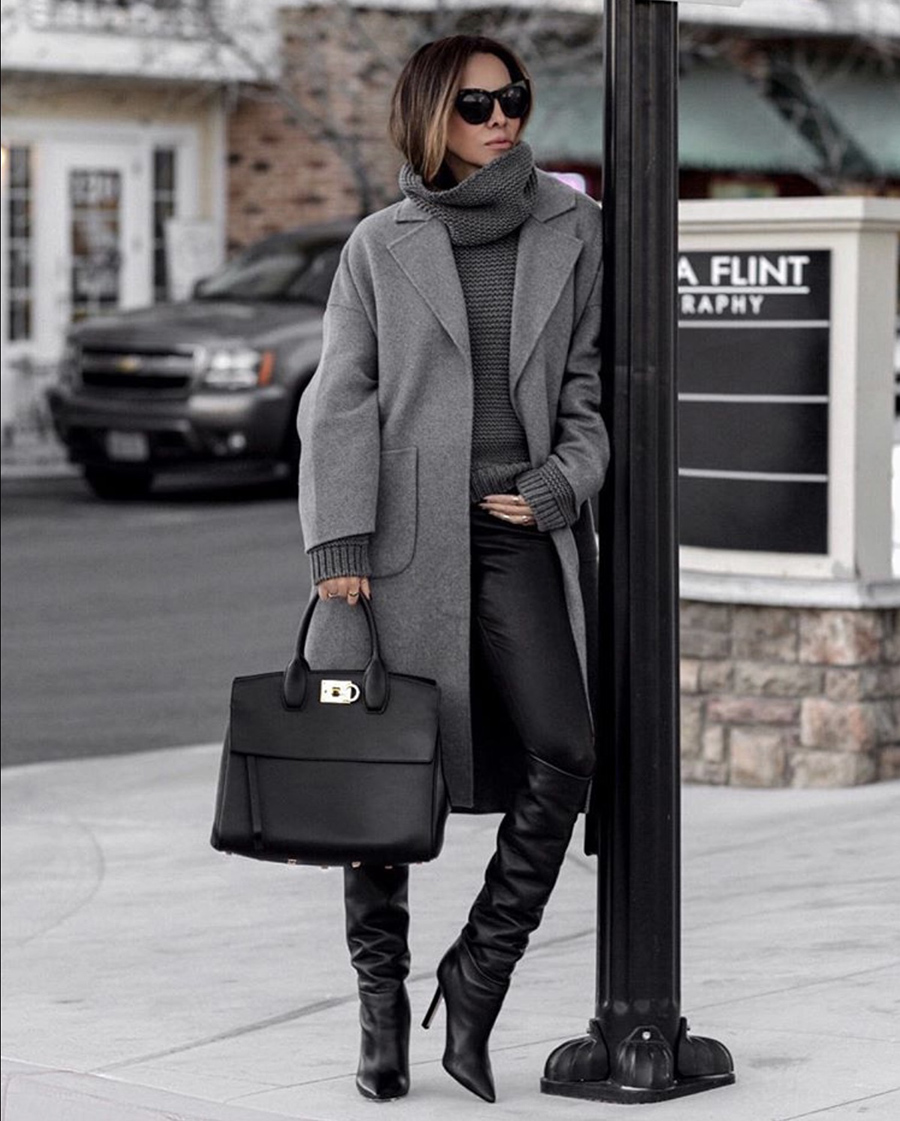 best boots for fall 2019, leather pants and slouchy boots, slouchy boots trend | lolario style