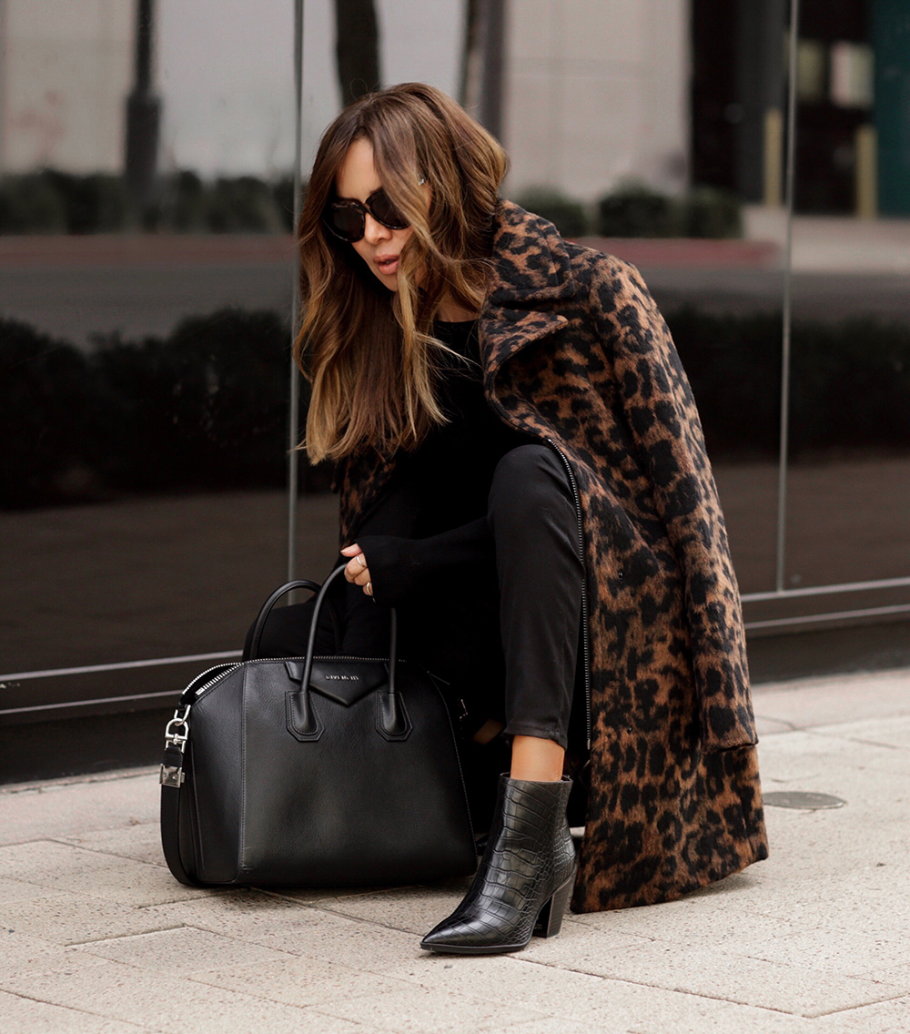 fall trends on a budget, karl lagerfeld leopard print jacket, walmart lord and taylor, sam edelman booties, croc effect boots, givenchy antigona | lolario style