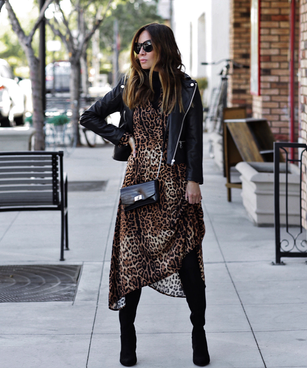 Fall Collection Under $100, walmart scoop fashion, leather jacket, leopard dress | lolario style