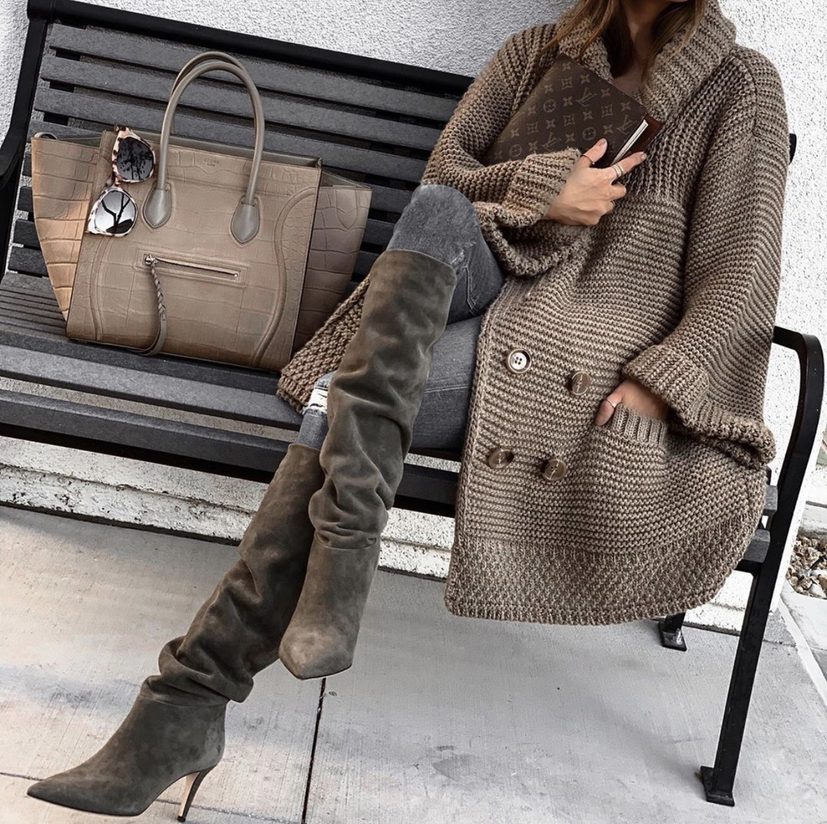 sweater styles, chic sweater styles, sweater styles of fall 2019, knit poncho and slouchy boots   lolario style