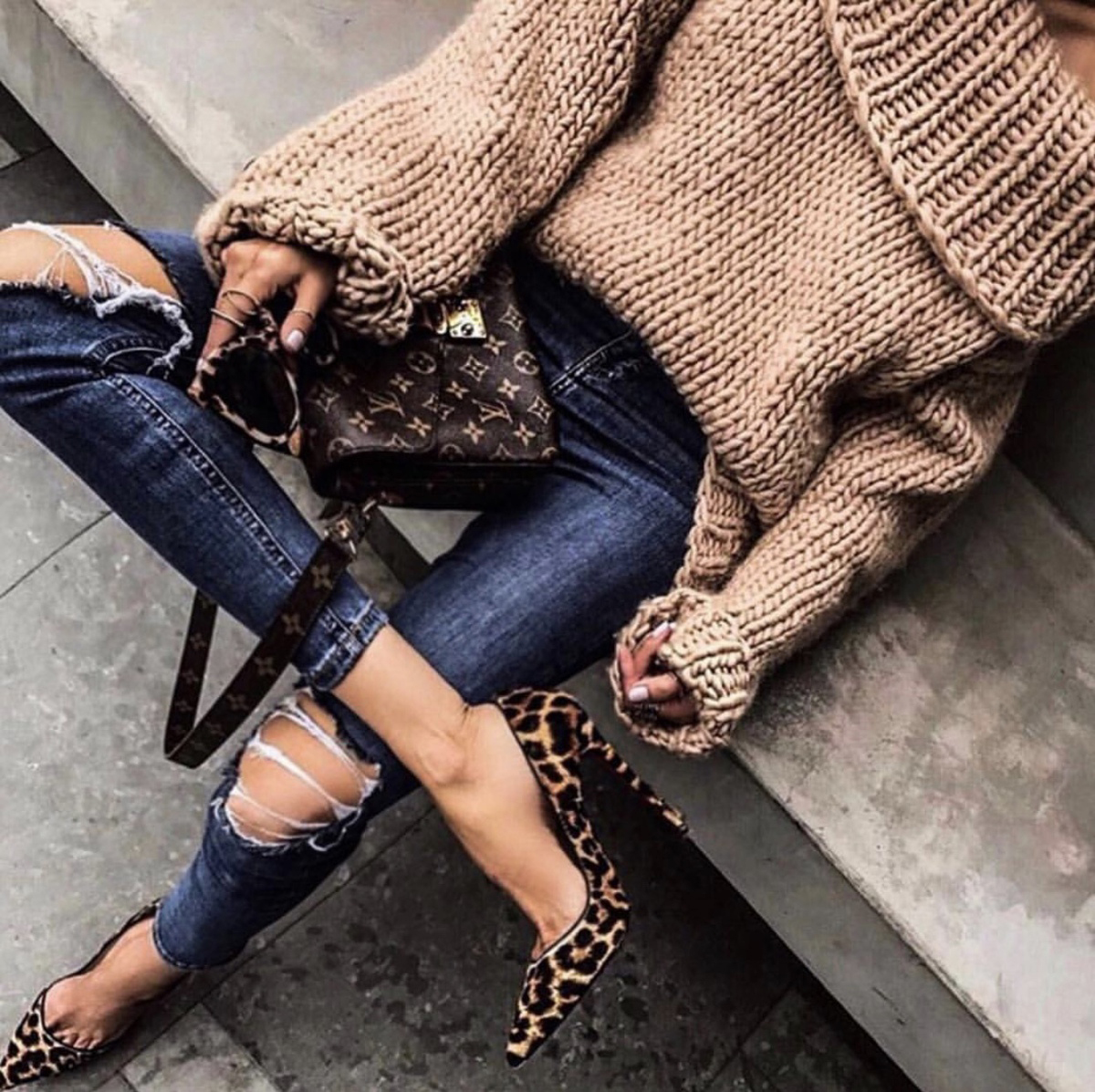 sweater styles, chic sweater styles, sweater styles of fall 2019, chunky sweater with leopard pumps, off the shoulder sweater, fall style inspiration | lolario style
