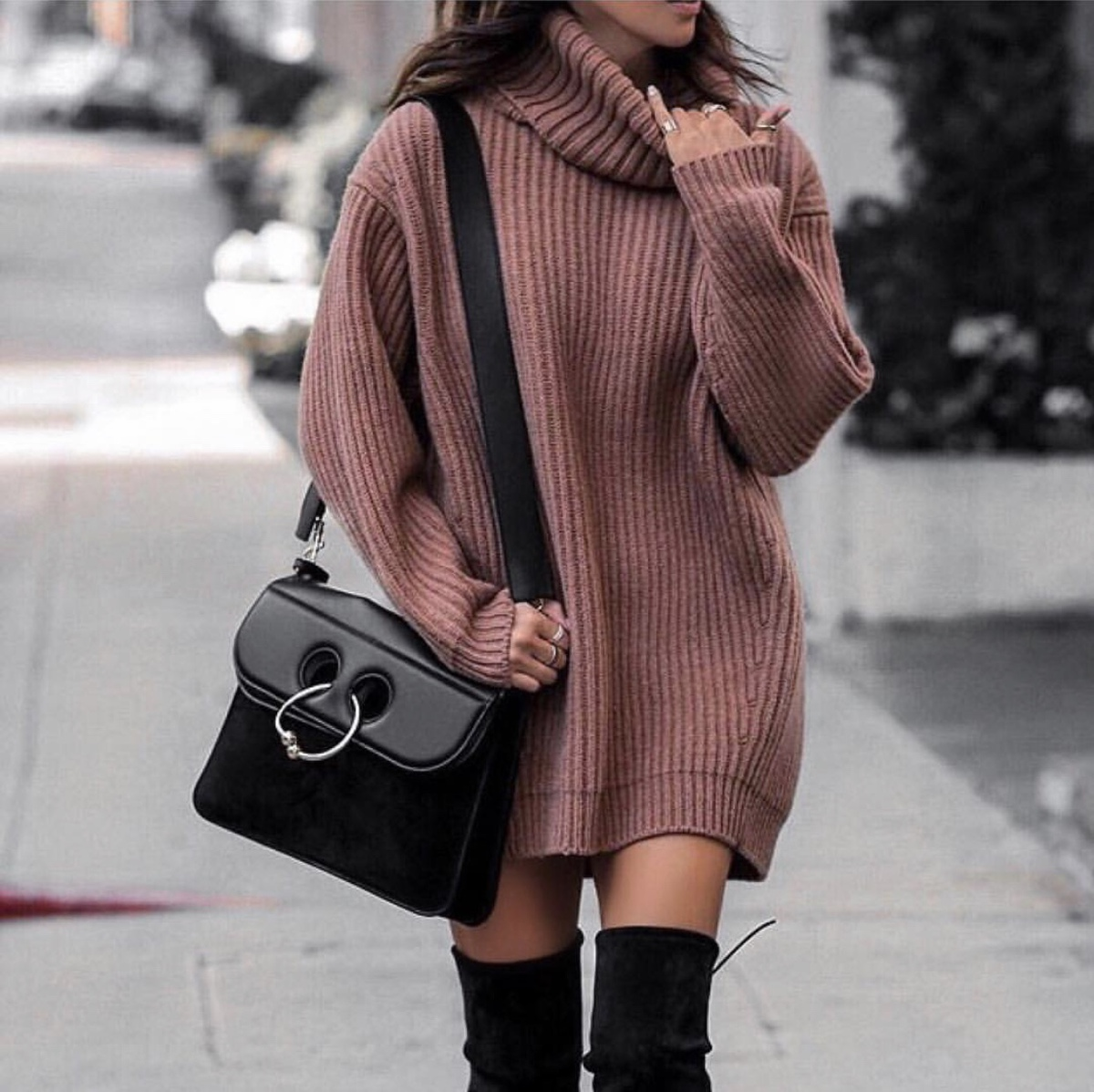 fashion blogger lolario style wears a slouchy sweater dress with stuart weitzman over the knee boots | lolariostyle.com